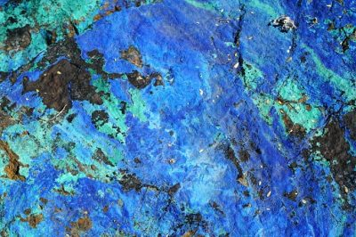Colorful blue and green lapidary rock specimen macro detail abstract horizontal background texture